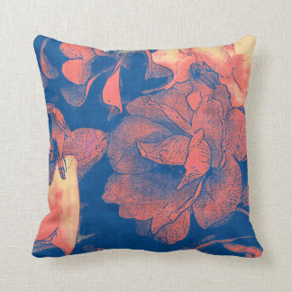 Shabby Rose coral & blue cottage floral Throw Pillow