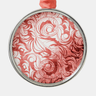 Shabby Rose Red Silver-Colored Round Decoration