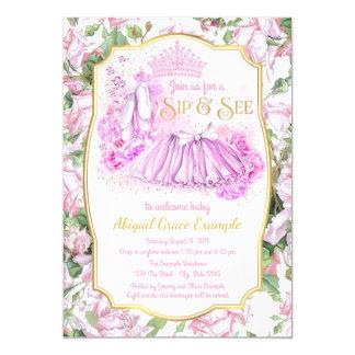 Shabby Rose Tutu Princess Sip and See Invitations