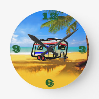 Shabby Sheek On the Beach Round Clock