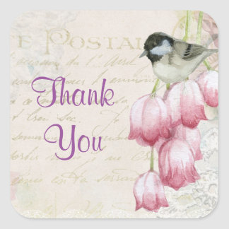 Shabby Vintage Bird and Flowers Thank You Square Sticker
