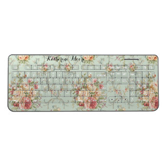 Shabby Vintage Roses Cottage Garden Personalized Wireless Keyboard