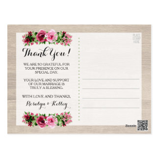 Shabby Vintage Roses Rustic Wedding Thank You Postcard