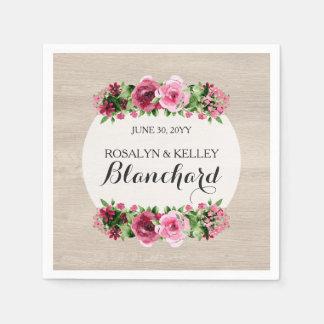 Shabby Vintage Roses Rustic Wood Wedding Custom Paper Napkin