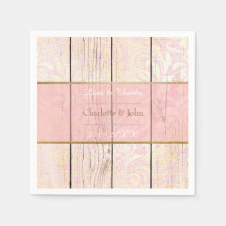 Shabby Wood Pin Rose Golden Rustic Floral Damask Disposable Napkin