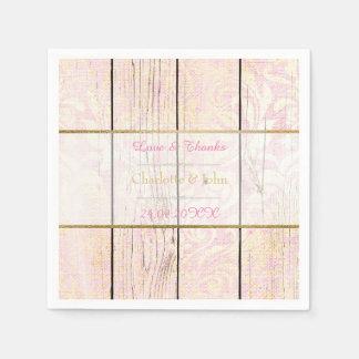 Shabby Wood Pink Rose Gold Rustic Floral Damask Disposable Napkins