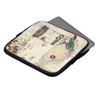 shabbychic Bird cage collage Vintage Paris Laptop Computer Sleeve