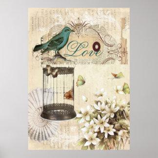 shabbychic Bird  cage collage Vintage Paris Poster