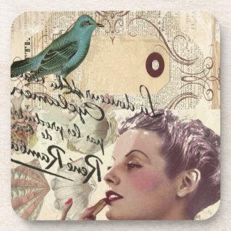shabbychic Bird collage  Vintage Paris Lady Beverage Coasters