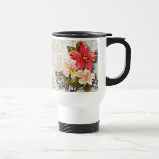 ShabbyChic Hawaii Floral Beach Wedding Favor Coffee Mugs