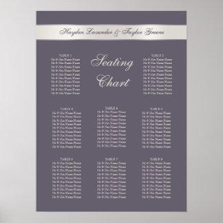 Shabbychic Lavender Stripes Wedding Seating Chart