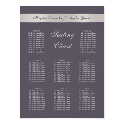 Shabbychic Lavender Stripes Wedding Seating Chart Print