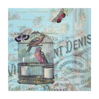 Shabbychic Paris collage rose Stretched Canvas Prints