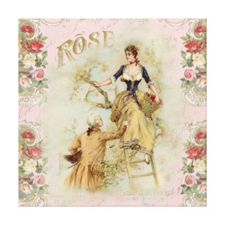 Shabbychic Paris collage rose Gallery Wrapped Canvas