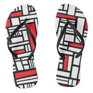"""""""Shackett"""" Adult Flip Flops Red White Black"""