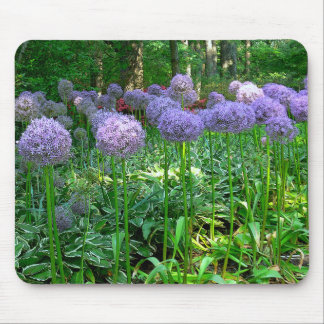 SHADE GARDEN WITH MASS OF PURPLE ALLIUM MOUSE PAD