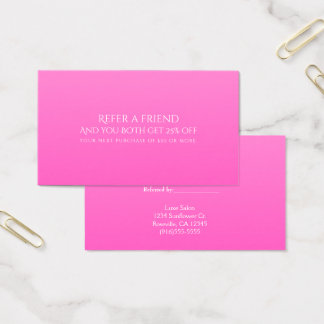 Shade of Pink Modern Refer a Friend Referral Card