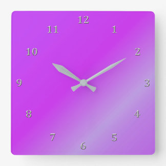 Shaded Purple Wine Magenta Gradient Gray Numbers Square Wall Clock