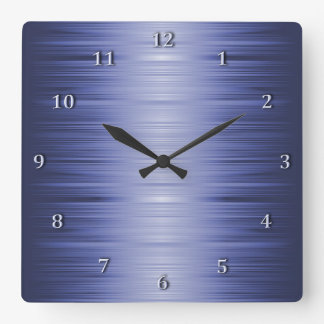 Shaded Sapphire Navy Blue Square Wall Clock