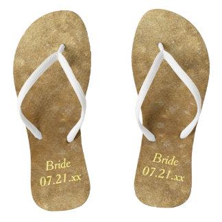 Shades Blended Gold Bride Wedding Date FlipFlops Thongs