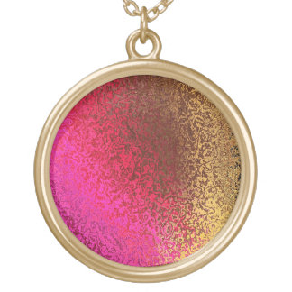 Shades in Pink & Bronze Gold Shiny Round Necklace