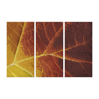 Shades of Autumn Leaf Three Panel Stretched Canvas Print