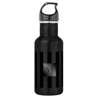 Shades of Black Stripes Manly Monogram 532 Ml Water Bottle
