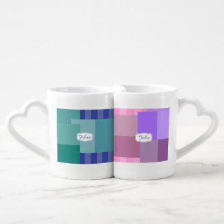 Shades of Blue and Purple in squares&rectangles Coffee Mug Set