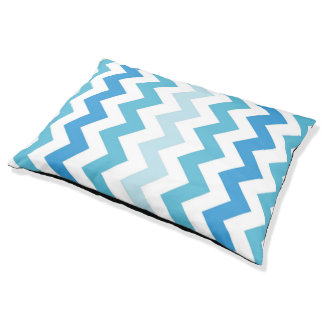 Shades Of Blue And White Chevron Pattern Dog Bed