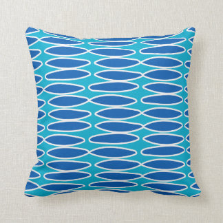 Shades of Blue and White Oval Pattern Pillow