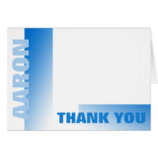 Shades of Blue Bar Mitzvah Thank You Card