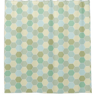 Shades of Blue, Cream, and Green Honeycomb Pattern Shower Curtain