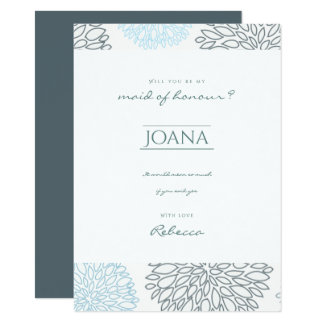 SHADES OF BLUE DAHLIA FLORAL Maid of honour Card