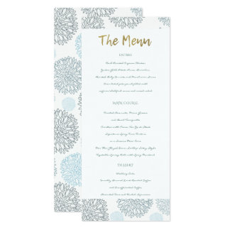 SHADES OF BLUE DAHLIA FLORAL PATTERN GOLD MENU CARD