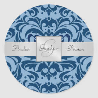 Shades of Blue Damask Monogram Wedding Sticker