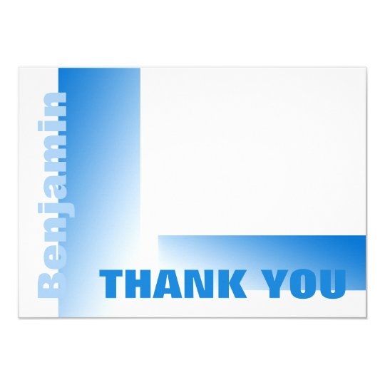Shades of Blue Flat Card Thank You Note