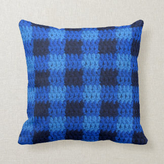 Shades of Blue Gingham Plaid Crochet Print on Cushion