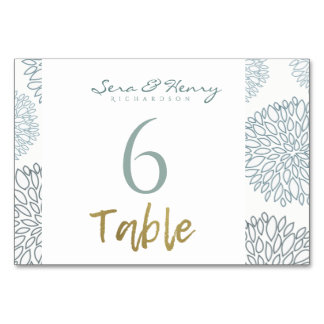 SHADES OF BLUE GOLD DAHLIA PATTERN TABLE CARD