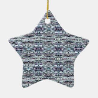 Shades of Blue Gray Background Pattern Ceramic Star Decoration