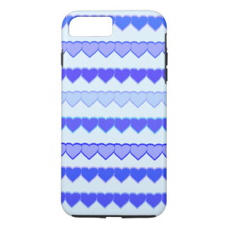Shades of Blue Heart Rows iPhone 7 Plus Case