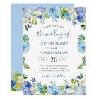 Shades of Blue Hydrangeas Pastel Floral Wedding Card
