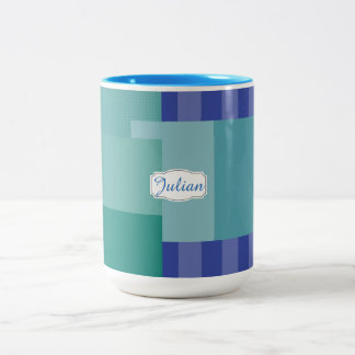 Shades of Blue in squares&rectangles Two-Tone Coffee Mug