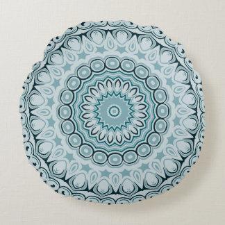 Shades of Blue Kaleidoscope Flowers Design Round Cushion