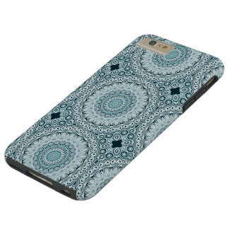 Shades of Blue Kaleidoscope Flowers Design Tough iPhone 6 Plus Case