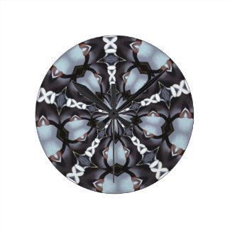 Shades of Blue Kaleidoscope Round Clock