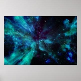 Shades Of Blue Nebula Poster