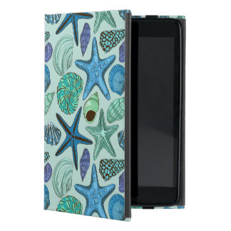 Shades Of Blue Seashells And Starfish Pattern Cases For iPad Mini