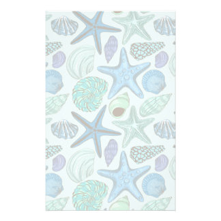 Shades Of Blue Seashells And Starfish Pattern Custom Stationery