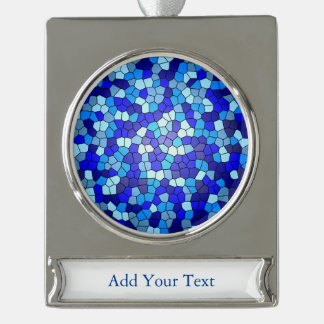 Shades of Blue Stained Glass by Shirley Taylor Silver Plated Banner Ornament