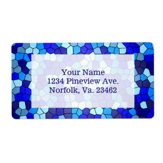 Shades Of Blue Stained Glass Shipping Label